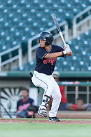 AZL Indians 1 center fielder Steven Kwan (7) at bat during an Arizona League playoff game against the AZL Rangers at Goodyear Ballpark on August 28, 2018 in Goodyear, Arizona. The AZL Rangers defeated the AZL Indians 1 7-4. (Zachary Lucy/Four Seam Images)