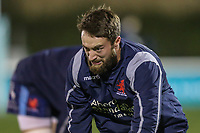 London Scottish players warm up ahead of the Championship Cup match between London Scottish Football Club and Ealing Trailfinders at Richmond Athletic Ground, Richmond, United Kingdom on 23 November 2018. Photo by David Horn/PRiME Media Images