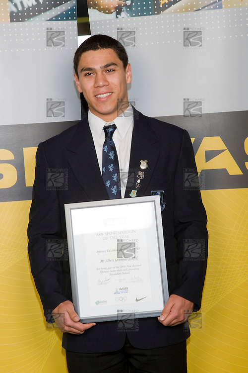 2008 Olympian Orinoco Fa'amausili-Banse Prince. ASB College Sport Young Sportperson of the Year Awards 2008 held at Eden Park, Auckland, on Thursday November 13th, 2008.