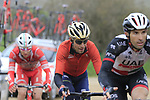 Riders including Vincenzo Nibali (ITA) Bahrain-Merida climb gravel sector 8 Monte Santa Maria during the 2017 Strade Bianche running 175km from Siena to Siena, Tuscany, Italy 4th March 2017.<br /> Picture: Eoin Clarke | Newsfile<br /> <br /> <br /> All photos usage must carry mandatory copyright credit (&copy; Newsfile | Eoin Clarke)