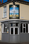 Sign and building detail of the Anchor pub in Quay Street, Woodbridge, Suffolk, England