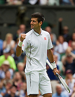 25-06-13, England, London,  AELTC, Wimbledon, Tennis, Wimbledon 2013, Day two, Novak Djokovic (SRB)<br /> <br /> <br /> <br /> Photo: Henk Koster