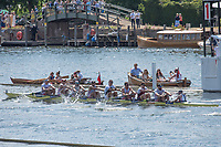"""Henley on Thames, United Kingdom, 7th July 2018, Friday, View, Leander Club & Molesey BC, trailing National Training Centre, AUS., from the, """"Regatta Enclosure, """"Fourth day"""", of the annual,  """"Henley Royal Regatta"""", Henley Reach, River Thames, Thames Valley, England, © Peter SPURRIER,"""
