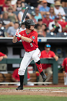Texas Tech Red Raiders outfielder Dylan Neuse (9) at bat during Game 5 of the NCAA College World Series against the Arkansas Razorbacks on June 17, 2019 at TD Ameritrade Park in Omaha, Nebraska. Texas Tech defeated Arkansas 5-4. (Andrew Woolley/Four Seam Images)