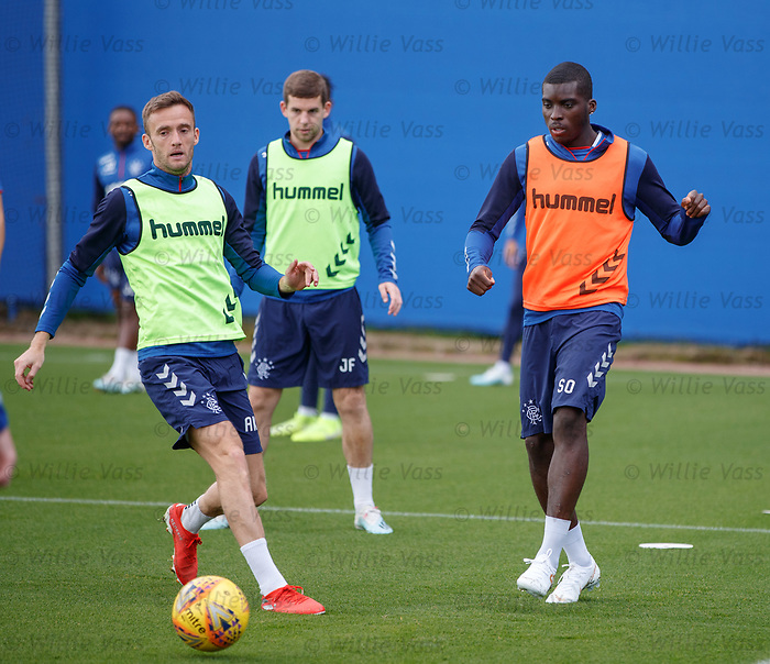 28.08.2019 Rangers training: Andy King and Sheyi Ojo