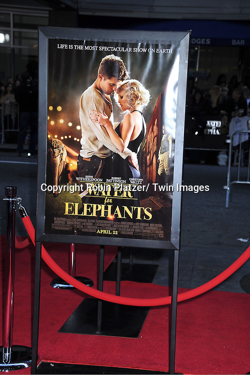 "The Poster attending The Premiere of ""Water For Elephants"" on    April 17, 2011 at The Ziegfeld Theatre in New York City. The stars of the movie are Reese Witherspoon, Robert Pattinson, Christoph Waltz and Hall Holbrook."