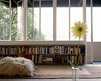 Space-saving bookshelves under a curtainless wall of windows furnish a light and airy sitting room