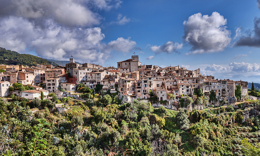 The village of Tourrettes sur Loup, a medieval town located in the hills near the east bank of the Loup river in the Côte d'Azur.