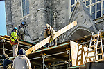 WATERBURY, CT. 23 December 2018-122318 - Workers from New England Scaffolding of Brockton, MA work on putting up scaffolding in front of St. Anne's Church in Waterbury on Sunday  Some sections of stonework from the church's steeple, high above fell to the ground prompting immediate emergency action and safety concerns. The church will be closed for next couple of weeks for repairs. Bill Shettle Republican-American