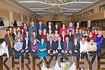 I.N.T.O. RETIREMENT: Jerome Conway, Mary Walsh, Eileen Breen and Tim Nelligan (seated 2nd, 3rd, 4th and 5th left) who retired from the Castleisland I.N.T.O. celebrating with family and friends at the Ballygarry House hotel & Spa on Friday.