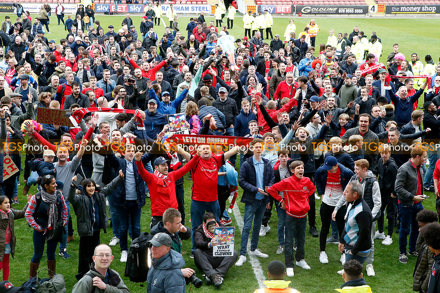 O's fans protest at full time during Leyton Orient vs Hartlepool United, Sky Bet EFL League 2 Football at the Matchroom Stadium on 17th April 2017