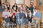 KEY OF THE DOOR: Michael Ahern, Tarmons, Tarbert, and Thomas OConnell, Carhoonagh, Tarbert (front centre) who celebrated their 21st Birthday party at Kirbys Lanterns Hotel, Tarbert, on Friday night with family and friends,