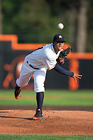 Buies Creek Astros starting pitcher Elieser Hernandez (31) delivers a pitch to the plate against the Wilmington Blue Rocks at Jim Perry Stadium on April 29, 2017 in Buies Creek, North Carolina.  The Astros defeated the Blue Rocks 3-0.  (Brian Westerholt/Four Seam Images)
