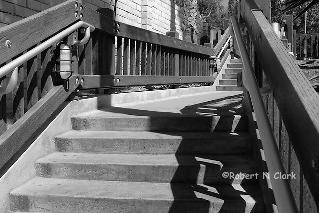 Wooden stairs leading to the beach in Encinitas at the Grandview access
