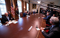 United States President Donald J. Trump meets with tourism industry executives to discuss the response to the Coronavirus (COVID-19) pandemic response at the White House in Washington, DC, March 17, 2020, in Washington, D.C. <br /> Credit: Kevin Dietsch / Pool via CNP/AdMedia