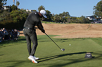 Dustin Johnson (USA) In action on the 18th tee during the final round of the The Genesis Invitational, Riviera Country Club, Pacific Palisades, Los Angeles, USA. 15/02/2020<br /> Picture: Golffile | Phil Inglis<br /> <br /> <br /> All photo usage must carry mandatory copyright credit (© Golffile | Phil Inglis)