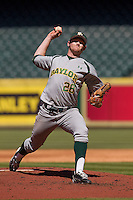 Baylor Bears starting pitcher Dillon Newman #28 delivers a pitch during the NCAA baseball game against the California Golden Bears on March 1st, 2013 at Minute Maid Park in Houston, Texas. Baylor defeated Cal 9-0. (Andrew Woolley/Four Seam Images).