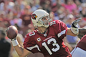 Landover, MD - September 21, 2008 -- Arizona Cardinals quarterback Kurt Warner prepares to pass in third quarter action against the Washington Redskins at FedEx Field in Landover, Maryland on Sunday, September 21, 2008.  The Redskins won the game 24 - 17..Credit: Ron Sachs / CNP