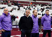 23rd November 2019; London Stadium, London, England; English Premier League Football, West Ham United versus Tottenham Hotspur; Tottenham Hotspur Manager Jose Mourinho standing alongside his coaching staff from the touchline before kick off - Strictly Editorial Use Only. No use with unauthorized audio, video, data, fixture lists, club/league logos or 'live' services. Online in-match use limited to 120 images, no video emulation. No use in betting, games or single club/league/player publications