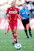 Newly acquired Freddie Ljungberg with the Chicago Fire moves to the ball. The Chicago Fire beat the LA Galaxy 3-2 at Home Depot Center stadium in Carson, California on Sunday August 1, 2010.