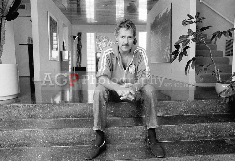 TV game show host Alex Trebek is photographed in his home on Mullholland Dr. in Los Angeles on July 7, 1988. Trebek is known for hosting the popular TV game show Jeopardy. He says his real ambition is to get into production. (Photo by Alan Greth)