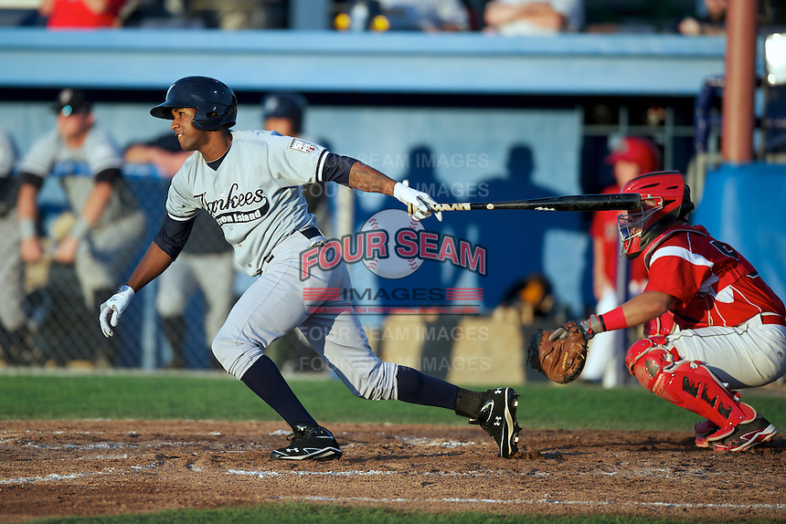 Staten Island Yankees Ravel Santana #11 during a game against the Batavia Muckdogs at Dwyer Stadium on July 28, 2012 in Batavia, New York.  Batavia defeated Staten Island 2-1.  (Mike Janes/Four Seam Images)