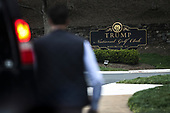 A Secret Service Agent waits outside of the Trump National Golf Club in Sterling, Virginia, for United States President Donald J. Trump to leave en route to the White House on April 7, 2019 in Washington, DC. <br /> Credit: Oliver Contreras / Pool via CNP