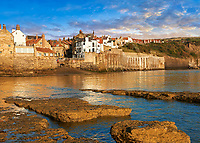 Harbour  of historic fishing village of Robin Hood's Bay, Near Whitby, North Yorkshire, England.