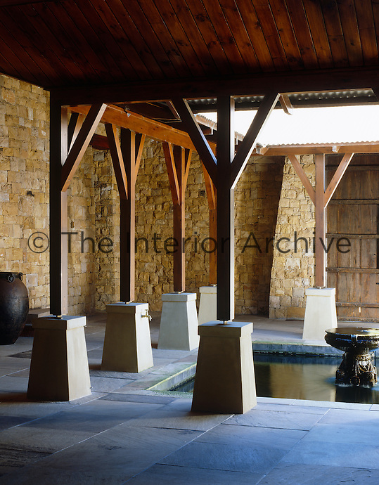 The monastic interior courtyard with its serene central pool was designed for contemplation