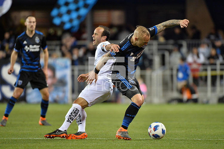 San Jose, CA - Saturday March 24, 2018: Landon Donovan, Magnus Eriksson during an international friendly between the San Jose Earthquakes and Club Leon FC at Avaya Stadium.