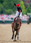 LOUISVILLE, KENTUCKY - MAY 03:  Ricardo Santana celebrates aboard She's a Julie after winning the La Troienne Stakes at Churchill Downs in Louisville, Kentucky on May 03, 2019. Evers/Eclipse Sportswire/CSM