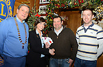 Drogheda Lions Club Christmas presentations (from left) Brian Browning, Lions Club President, Geraldine Murray of Tesco, Alan Clarke of Drogheda Lions and John Walker of Drogheda Homeless Aid. Photo: Andy Spearman. www.newsfile.ie