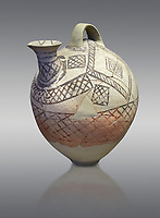 Cycladic askos with hatched painted decoration.  Cycladic III (2300-2000 BC) , Phylakopi, Melos. National Archaeological Museum Athens. Cat no 5826.   Grey background.<br /> <br /> <br /> Decorated pottery is rare during this Ccladic period. This Cycladic askos has vertical handle on top with a spout. It has painted decoration of hatched bands and a lozenge pattern