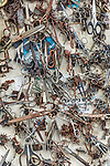 Middle East, Israel, West Bank, Bethlehem, street art of scissors, screws, bolts, washers, etc.