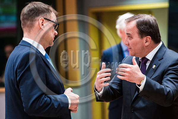 BRUSSELS - BELGIUM - 29 April 2017 -- EU-Summit Head of States on BREXIT. -- Juha SIPILÄ (Sipilae), Prime Minister of Finland with Stefan LÖFVEN (Loefven, Lofven), Prime Minister of Sweden. -- PHOTO: Juha ROININEN / EUP-IMAGES