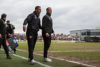 Notts County manager Kevin Nolan congratulates Newport County manager Mike Flynn ahead of full time during the Sky Bet League 2 match between Newport County and Notts County at Rodney Parade, Newport, Wales on 6 May 2017. Photo by Mark  Hawkins / PRiME Media Images.