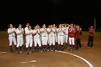 11 April 2008: Stanford Cardinal (not in order) Maddy Coon, Melisa Koutz, Alissa Haber, Ashley Chinn, Missy Penna, Becky McCullough, Autumn Albers, Rosey Neill, Michelle Smith, Erikka Moreno, Erin Howe, Jess Zutz, Tricia Aggabao, Brittany Minder, Michelle Schroeder, Shannon Koplitz, Anna Beardman, assistant coach Trisha Ford, assistant coach Jessica Allister, volunteer assistant coach Mick Myrback, and athletic trainer Christina Puno during Stanford's 10-1 win against the Oregon State Beavers at the Boyd and Jill Smith Family Stadium in Stanford, CA.