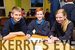 Pupils from Currow NS,Nathan O Callaghan, Aidan Carey and Siobhan Brosnan at the Primary schools science quiz  ITT South Campus on Thursday