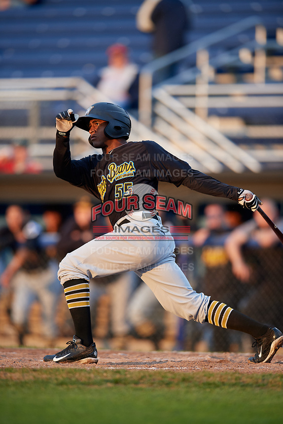West Virginia Black Bears third baseman Raul Siri (55) follows through on a swing during a game against the Batavia Muckdogs on August 7, 2017 at Dwyer Stadium in Batavia, New York.  West Virginia defeated Batavia 6-3.  (Mike Janes/Four Seam Images)