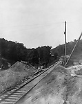 Hopedale OH: Construction of a tunnel under the Aliance and Wheeling Railroad Crossing - 1903.  The Pittsburgh, Toledo and Western Railroad company, owned by the famous George J. Gould,  hired Brady Stewart to document the track and tunnel construction between Hopedale Ohio and downtown Pittsburgh.