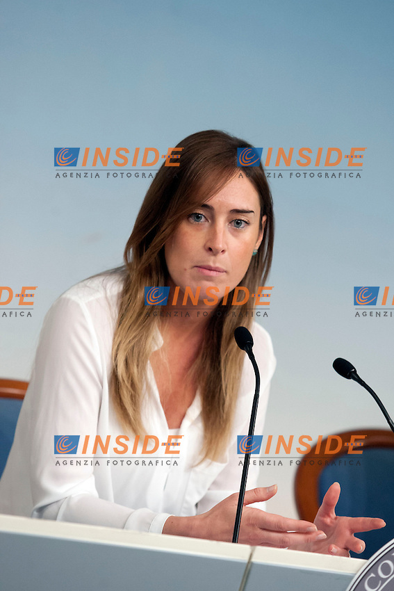 Maria Elena Boschi <br /> Roma 20-06-2014 Palazzo Chigi. Conferenza stampa al termine del consiglio dei Ministri. <br /> Press conference at the end of Minister's Cabinet.<br /> Photo Samantha Zucchi Insidefoto