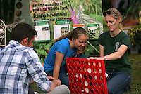 Pictured L-R: Rhodri Jones of Blaenau Gwent Council with Elise Leadbeater and Candice Laroche Saturday 13 August 2016<br />