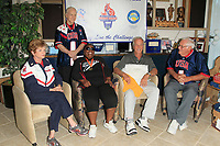 LOS ANGELES - JUN 1:  Kathy Bergen, Ernie Miller, Vivian Stancil, Pat Boone, Bob Messersmith at the National Senior Games Press Conference at the Pat Boone Enterprises on June 1, 2017 in West Hollywood, CA