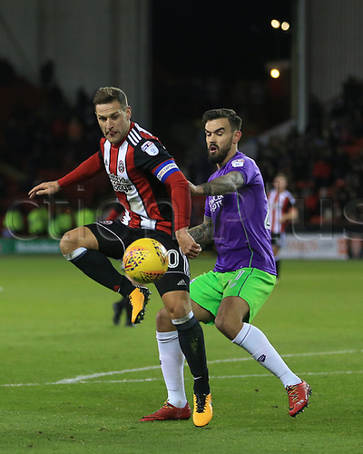 8th December 2017, Bramall Lane, Sheffield, England; EFL Championship football, Sheffield United versus Bristol City; Billy Sharp of Sheffield United plays the ball into the box