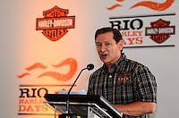 ATENCAO EDITOR: FOTO EMBARGADA PARA VEICULOS INTERNACIONAIS. - RIO DE JANEIRO, RJ,14 DE SETEMBRO 2012 - RIO HARLEY DAYS 2012- Patrick Smith, Vice-Presidente de General Merchandise da Harley Davidson Moto Company na coleitva de imprensa do Rio Harley Days 2012, sucesso na Espanha, FRanca, Alemanha e Croacia, o evento desembarca para sua segunda edicao no Brasil, na Marina da Gloria, na Gloria, zona sul do Rio de Janeiro.(FOTO: MARCELO FONSECA / BRAZIL PHOTO PRESS).