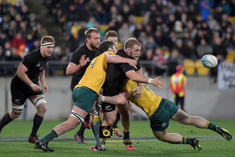All Blacks' Owen Franks in action during the All Blacks v Wallabies. The Rugby Championship &amp; Bledisloe Cup at Westpac Stadium, Wellington, New Zealand on Saturday 27 August 2016.<br /> Photo by Masanori Udagawa. <br /> www.photowellington.photoshelter.com.