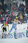 HOLMENKOLLEN, OSLO, NORWAY - March 16: (R-L) Sebastien Lacroix of France (FRA) and Johannes Rydzek of Germany (GER) during the cross country 15 km (2 x 7.5 km) competition at the FIS Nordic Combined World Cup on March 16, 2013 in Oslo, Norway. (Photo by Dirk Markgraf)