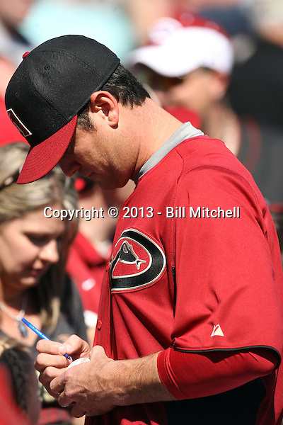 """Josh Booty, winner of MLB Networks' reality show """"The Next Knuckler,"""" works out with the Arizona Diamondbacks during spring training at Salt River Fields on February 23, 2013 in Scottsdale, Arizona (Bill Mitchell)"""
