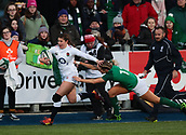 1st February 2019, Energia Park, Dublin, Ireland; Womens Six Nations rugby, Ireland versus England; Jess Breach (England) hands off a tackle from Megan Williams (Ireland)