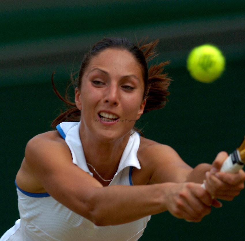 Photo: Richard Lane..Wimbledon Championships. 04/07/2006. .Anastasia Myskina of Russia returns.